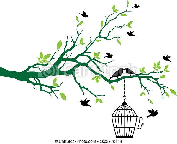 printemps, arbre, oiseaux, cage d'oiseaux - csp3778114