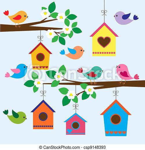 printemps, birdhouses - csp9148393