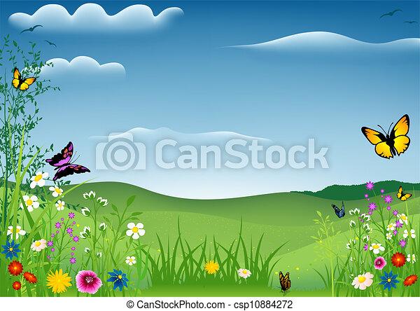 printemps, papillons, paysage - csp10884272