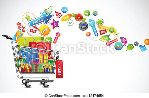 produit, entiers, achats, vente, charrette - csp12474654