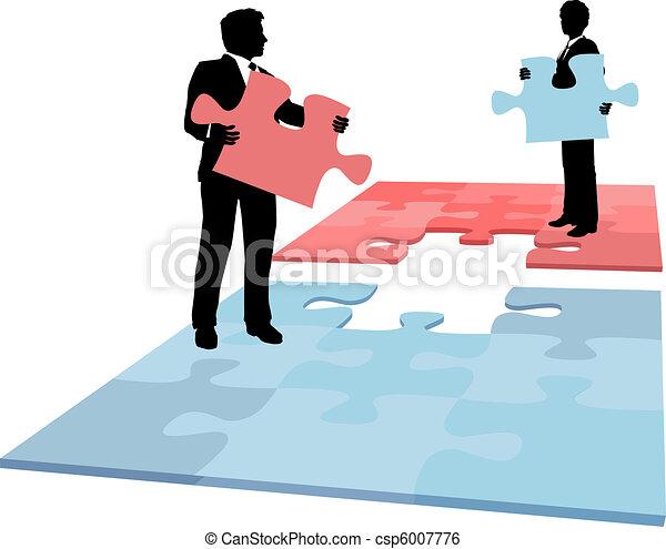 professionnels, fusion, collaboration, solution, morceau, puzzle - csp6007776