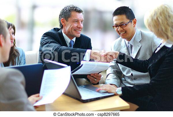 professionnels, mains, secousse, haut, finir, réunion - csp8297665