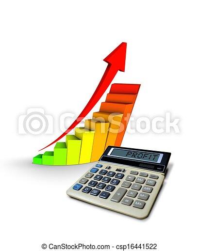 profit, calculatrice, diagramme - csp16441522