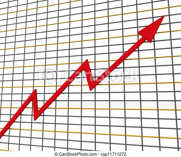 profit, graphique, ligne, rouges, spectacles - csp11711272