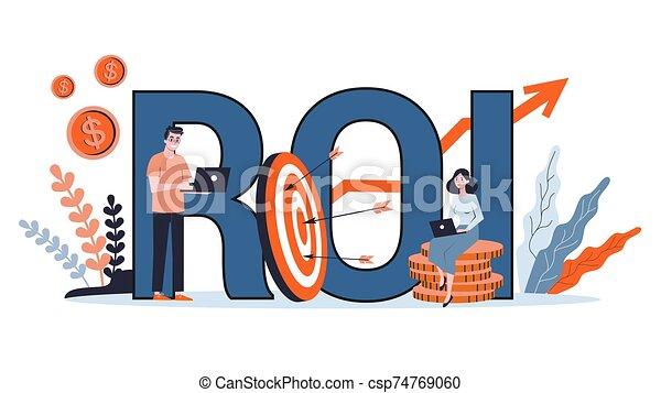 profit, ou, retour, idée, finance, investissement, concept., roi - csp74769060