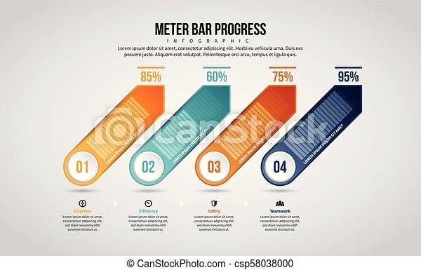 progrès, infographic, barre, mètre - csp58038000