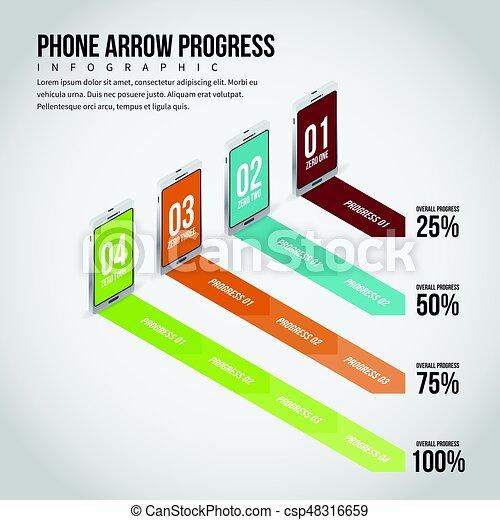 progrès, smartphone, infographic, flèche - csp48316659