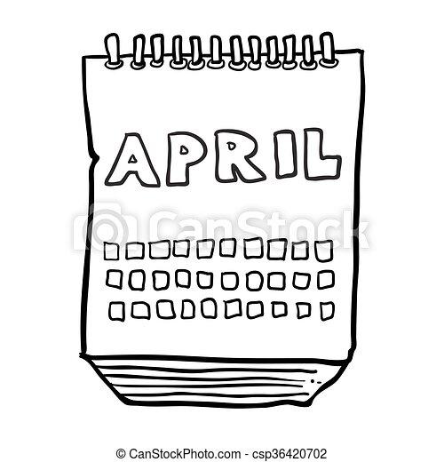 projection, mois, avril, noir, freehand, dessiné, calendrier, blanc, dessin animé - csp36420702