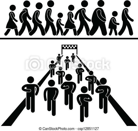 promenade, course, communauté, pictogramme - csp12851127