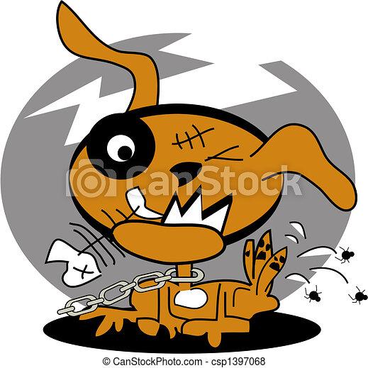 puces, art graphique, chien, agrafe - csp1397068