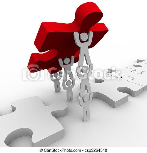 puzzle, placer, collaboration, final, morceau - csp3264548