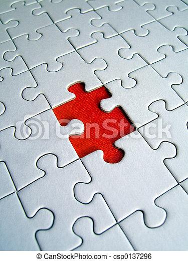 puzzle, rouges, élément - csp0137296