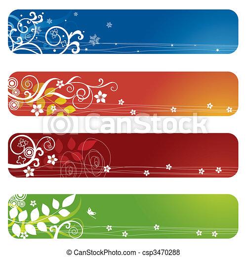 quatre, floral, bannières, bookmarks, ou - csp3470288
