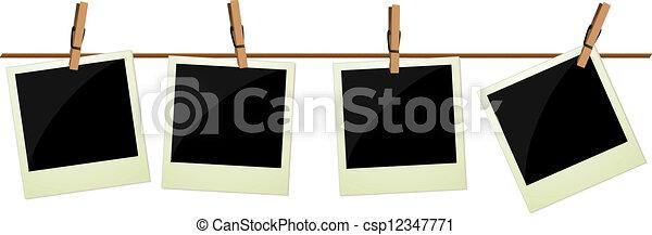 quatre, images, polaroid, pendre - csp12347771