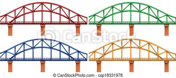 quatre, ponts, coloré - csp18331978