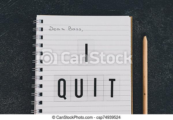 quitter, cher, cahier, patron, message - csp74939524