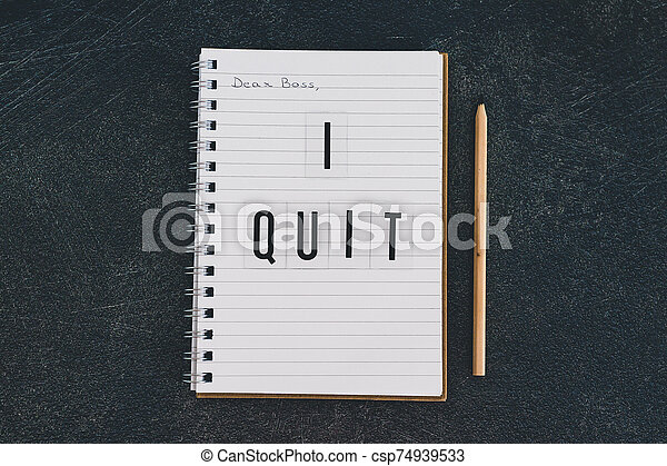 quitter, cher, cahier, patron, message - csp74939533