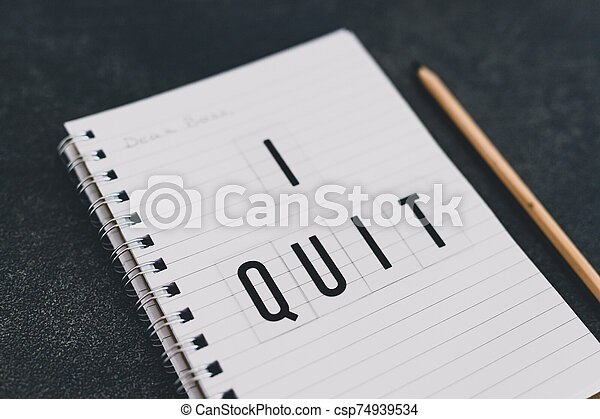 quitter, cher, cahier, patron, message - csp74939534