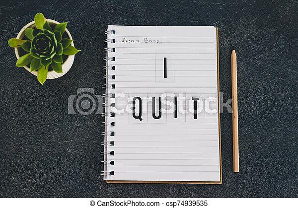 quitter, cher, cahier, patron, message - csp74939535