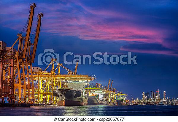 récipient cargaison, fonctionnement, pont, shipya, bateau fret, grue - csp22657077