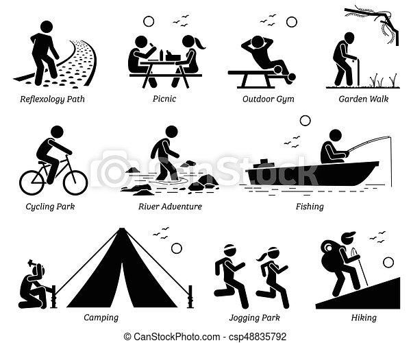 récréatif, style de vie, récréation extérieure, activities. - csp48835792