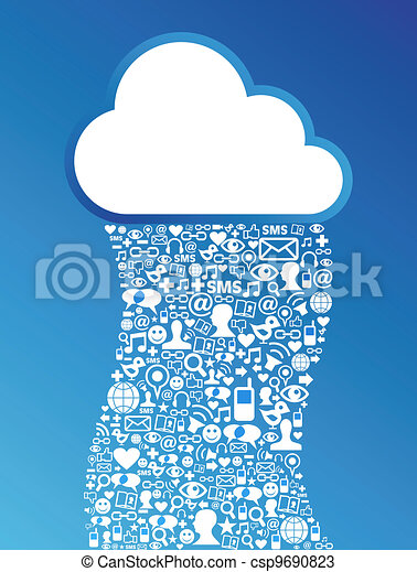 réseau, calculer, média, fond, social, nuage - csp9690823
