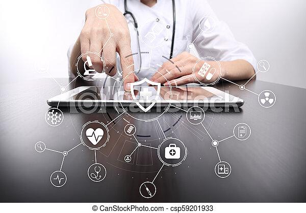 réseau, docteur médical, écran, moderne, connection., virtuel, médecine, informatique, interface, concept., icône - csp59201933