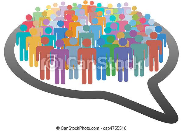 réseau, foule, gens, média, parole, social, bulle - csp4755516