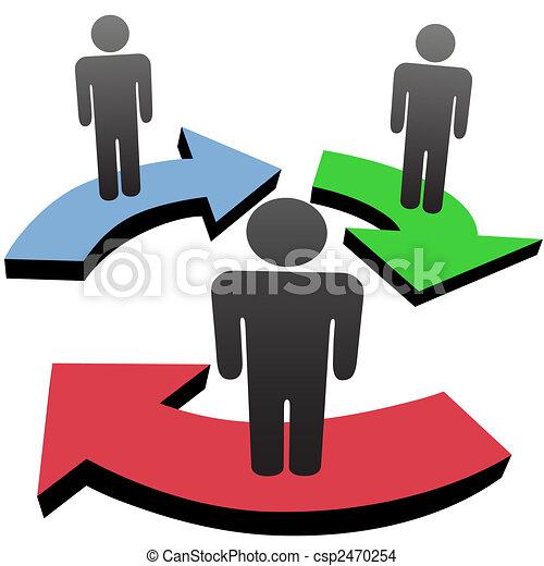réseau, gens, flèches, flot travail, communiquer, équipe - csp2470254