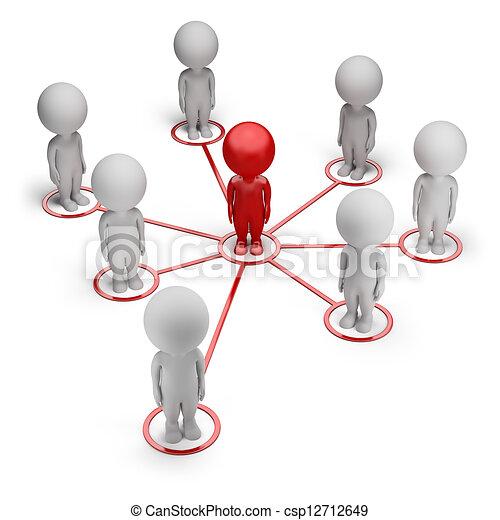 réseau, gens, -, petit, associé, 3d - csp12712649