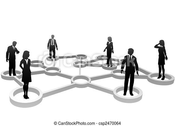 réseau, professionnels, silhouettes, connecté, noeuds - csp2470064