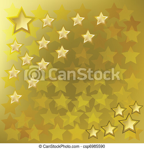 résumé, fond, or, étoiles - csp6985590