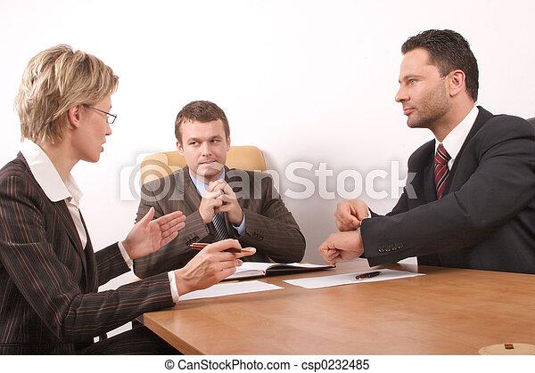 réunion, trois personnes - csp0232485
