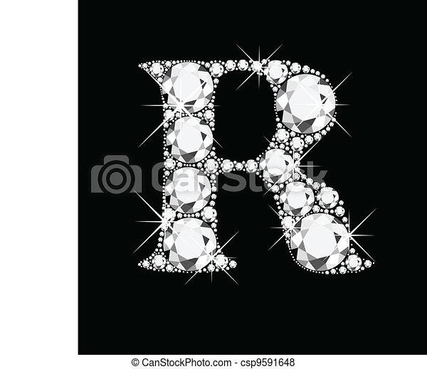 r, lettre, diamants - csp9591648