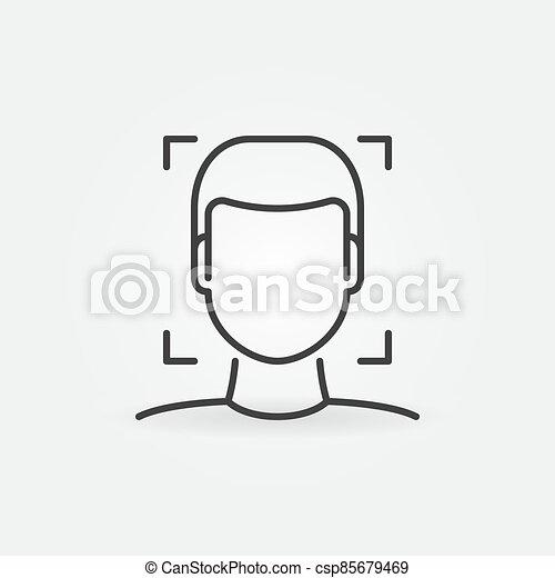 reconnaissance, linéaire, figure, vecteur, humain, concept, icône - csp85679469