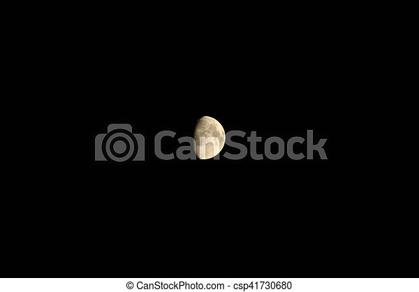 reflet, clair, cratères, sunlight., lune, night. - csp41730680
