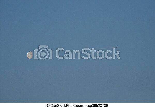 reflet, clair, cratères, sunlight., lune, night. - csp39520739