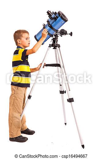 regarder, blanc, télescope, enfant - csp16494667
