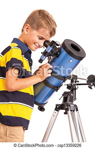 regarder, blanc, télescope, enfant - csp13359226