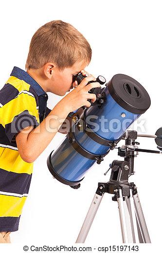 regarder, blanc, télescope, enfant - csp15197143