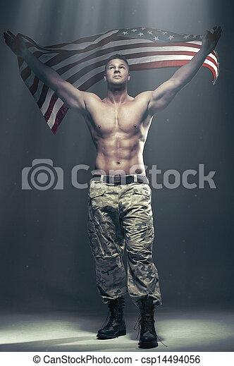 regarder, drapeau, bon, fumée, hommes - csp14494056