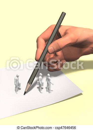 regarder, grand, illustration, main, sous, écriture, 3d - csp47646456
