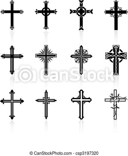 religieux, conception, croix, collection - csp3197320