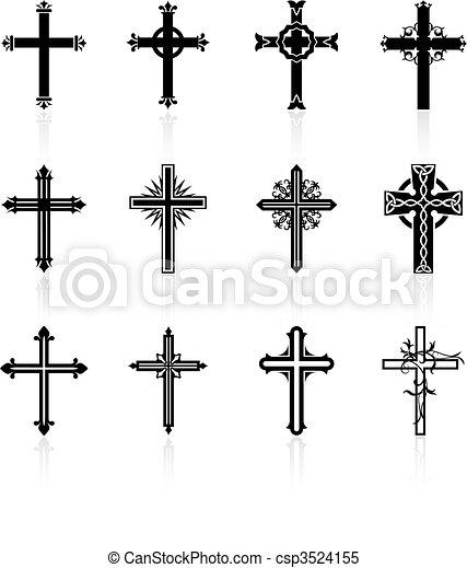 religieux, conception, croix, collection - csp3524155
