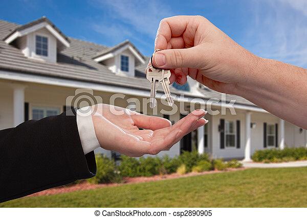 remettre, clés, maison, sur, nouveau, devant, maison - csp2890905