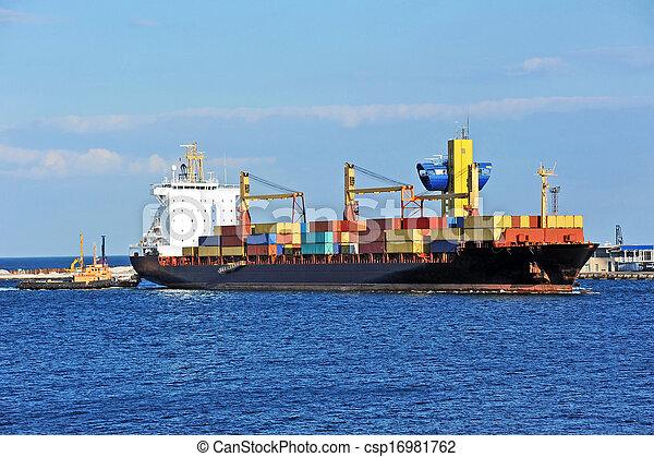 remorqueur, aider, navire porte-conteneurs, cargaison - csp16981762