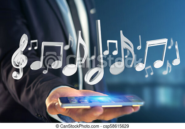 render, notes, musique, interface, futuriste, 3d - csp58615629