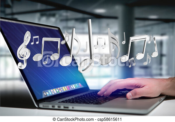 render, notes, musique, interface, futuriste, 3d - csp58615611
