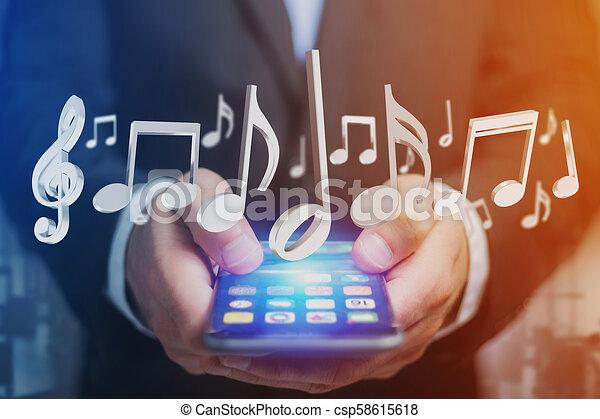 render, notes, musique, interface, futuriste, 3d - csp58615618
