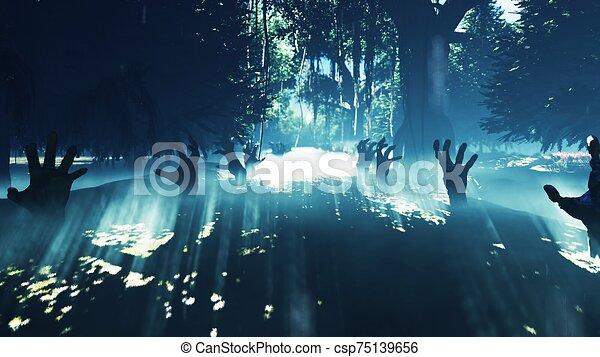rendre, mystérieux, mains, brumeux, backgrounds., portée, marais, forêt, 3d, halloween, ascensions, sombre, mort, dehors, marais, paysage., vapeur, terrestre - csp75139656